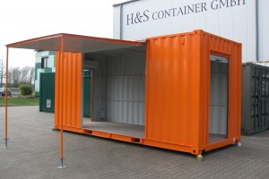20' Messecontainer - Eventcontainer / Messestand / Frontansicht - h+s container GmbH